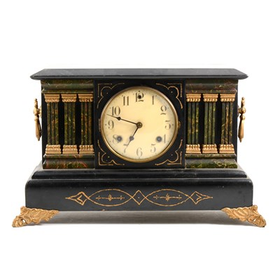 Lot 190-American simulated marble painted wood mantel clock, ...