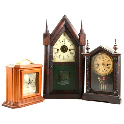 Lot 194-American rosewood shelf clock, Chauncey Jerome, New Haven, Connecticut, ...