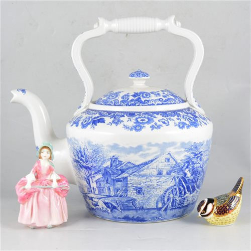 "Lot 66-A Tuscan china transfer printed and hand decorated floral teaset, a Spode limited edition oversize kettle ""Rural Scenes"" in The Signature Collection number 20/750 of the 2002 edition"