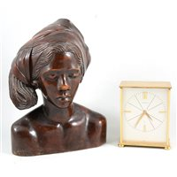 Lot 91-A Garrard desk clock, carved wooden female bust, brass jam pan, toasting fork and a carpet beater.