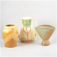 Lot 81-Five assorted items of British Art Pottery, including Prinknash, Iden and Price Bros.