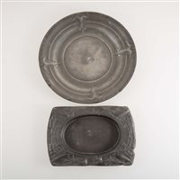 Lot 522-A Tudric pewter butter dish, designed by Archibald Knox for Liberty & Co; and a pewter plate by Kayserzinn.