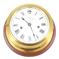 Lot 145-Ship's brass-cased wall clock, Whyte, Thomson & Co., Glasgow
