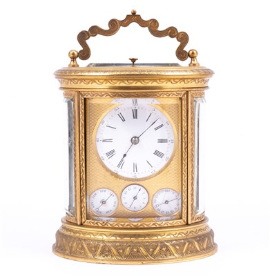 Lot 312-French brass calendar carriage clock, circa 1880