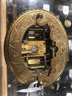 Lot 312 - French brass calendar carriage clock, circa 1880