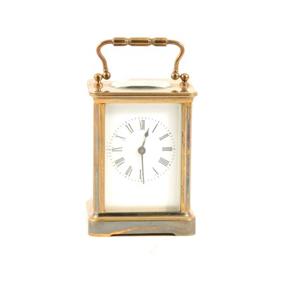 Lot 178-Small French brass cased carriage clock, white enamelled dial, platform escapement, 11cm.