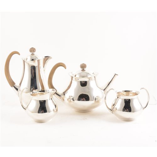 636 - A post-war silver four-piece teaset, designed by Eric Clements for Elkington & Co, 1966