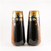 Lot 526-A pair of Phoenix Ware vases with Peacock and Rising Sun, by John Forester & Sons