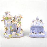 Lot 22-Large lilac coloured castle model, separate base, and a smaller lilac coloured cottage model. (2) (a.f.)