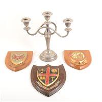 Lot 141-Plated three-light candelabra, ...