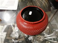 Lot 82-Chinese red lacquered covered bowl