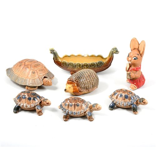 Lot 44-A collection of Wade Pottery pin boxes, Whimsies, and Pendelfin figures.