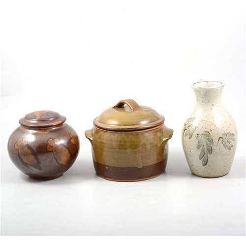 Lot 40-Three Studio pottery vessels, including a Wenford Bridge Pottery casserole pot.