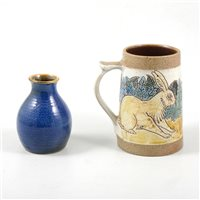 Lot 36-Studio stoneware tankard and a small vase,  by Michael and Joanna Mosse at Llanbrynmair Pottery (2).