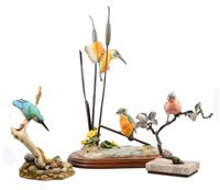 Lot 61-Albany Fine China model of a Chaffinch; and two Teviotdale models of Kingfishers.