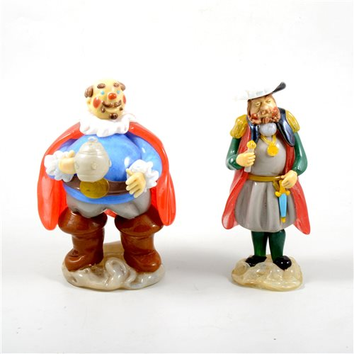 Lot 9-Murano style coloured glass model Falstaff, 19cm and a similar figure of another Shakespearean character, (2).