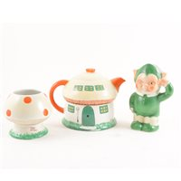 Lot 64-A Shelley 'Boo Boo' three-piece teaset, designed by Mabel Lucie Attwell