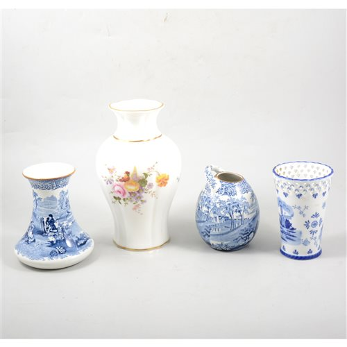 Lot 55 - A quantity of decorative ceramics including a Royal Crown Derby vase, a Coalport commemorative goblet, etc.