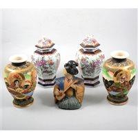 Lot 13-A quantity of Japanese ceramic items, including Satsuma vases, nodding figures, etc