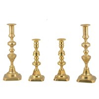 Lot 127-Pair of Victorian turned brass candlesticks, 23cm, and other candlesticks, etc.
