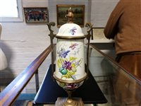 Lot 17-Pair of French gilt metal and painted enamel garniture urns.