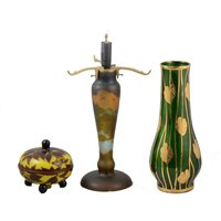 Lot 42-A cameo glass lamp base, cameo glass dish and cover, and another decorative glass vase.