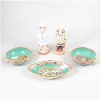 Lot 84-A collection of decorative ceramics, including a Clarice Cliff sandwich tray.