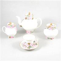 Lot 73-Lomonosov porcelain coffee service, pink rose border design, fluted bodies.