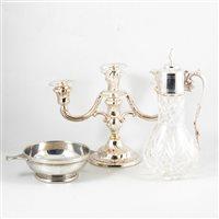 Lot 97-Cut glass claret jug, silver plated mounts, 33cm