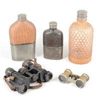 Lot 91-Vintage binoculars, Franka camera, hip flasks, collar box, etc.