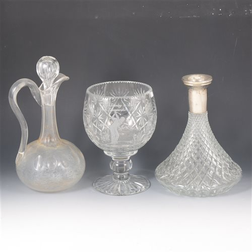 Lot 27-Three boxes of glassware, including decanters, drinking glasses, bowls, vases, etc.