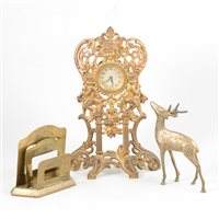 Lot 96-German brass gilt framed mantle clock and other brass wares.