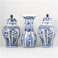 Lot 74-A pair of Delft pattern covered vases by Boch, a similar vase, and other ceramics.