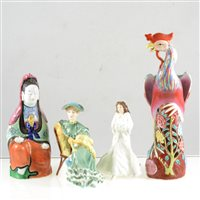 Lot 8-Five Royal Doulton figures, Oriental ceramics, and a Beswick shire horse.