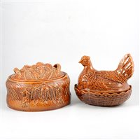Lot 86-Portmerion pottery game pie dish, 26cm, and other similar pottery and earthenware.