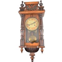 Lot 92-Small Vienna type wall clock, beech case, the movement striking on a gong, approximately 56cm.