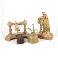 Lot 94-Two boxes of brass ware, including horse brasses, jam pan, fire pokers, candle sticks etc.