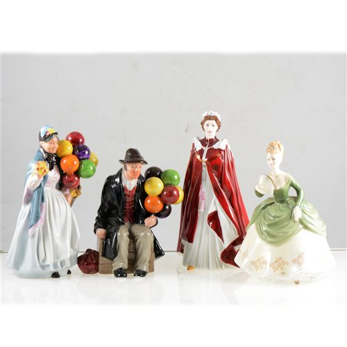 Lot 5-Six Royal Doulton figurines, and four other figurines.