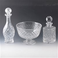 Lot 20-A quantity of cut crystal glassware, including decanters and fruit bowls.