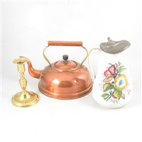 Lot 93-A copper and brass kettle, brass candlestick, ceramic hotwater jug and four coaching prints.