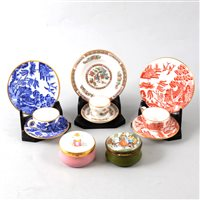 Lot 28-A collection of modern enamel pill boxes and miniature  Wedgwood trios.