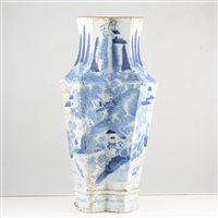 Lot 47-An unusual Chinese porcelain vase, squeezed lozenge form