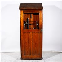 Lot 500-A pitch pine Gothic Revival style Fire Station hydrant cupboard