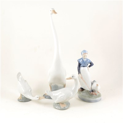 Lot 56-Royal Copenhagen figure of a goose girl, ...