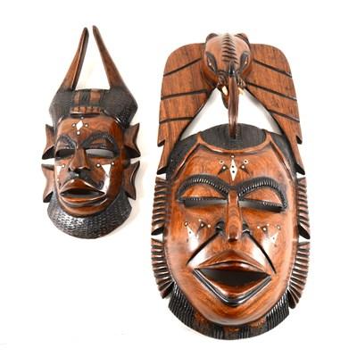 Lot 156-Tribal style carved hardwood mask, ...