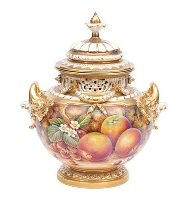 Lot 38-A large 'Painted Fruit' pot pourri vase and cover, by David Fuller for Royal Worcester.