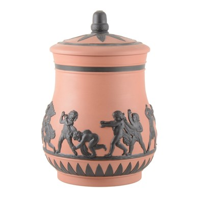 Lot 29-A Jasperware vase and cover, 'Cherubs at Play', by Wedgwood.