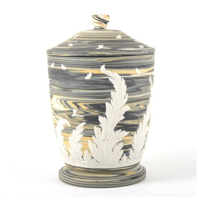 Lot 28-A marbled Jasperware jar and cover, by Wedgwood.