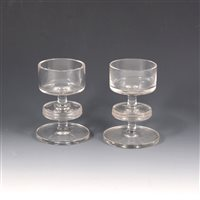 Lot 14-A pair of Wedgwood clear glass candlesticks, Kings Lynn pattern.