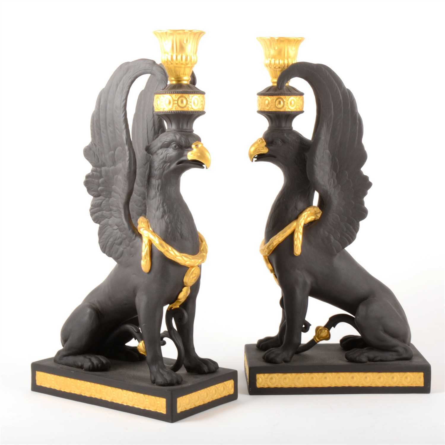 Lot 33-A pair of limited edition Masterpiece Collection 'Griffin Candlesticks', by Wedgwood.